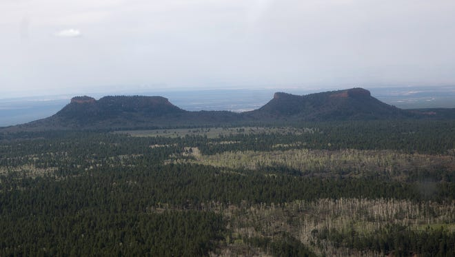 Bears Ears is pictured on Monday, May 8, 2017 over southeast Utah.