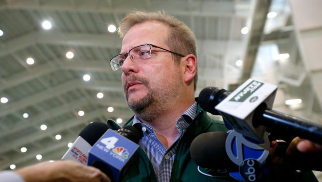 In this Jan. 14, 2016, file photo, New York Jets general manager Mike Maccagnan speaks to reporters at the team's NFL training center in Florham Park, N.J. Maccagnan talked to reporters again Wednesday on the state of the Jets and how he thought some of his top players were performing.