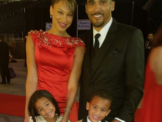 April Morton, an iHeartMedia news anchor, husband Maurice Morton, CEO of Detroit Academy of Arts and Sciences, with children Maurissa, left, and Joshua.
