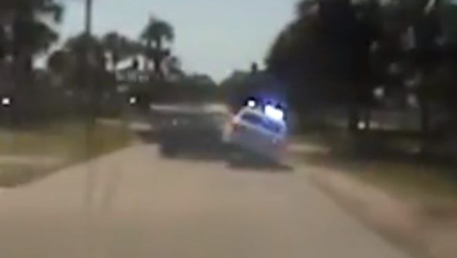 The Brevard County Sheriff's Office released one of the dashboard cameras from Saturday's pursuit of a stolen car from Martin County.