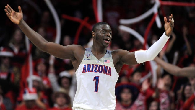 Dec 9, 2017: Arizona Wildcats guard Rawle Alkins (1) celebrates at the final buzzer after defeating the Alabama Crimson Tide at McKale Center.