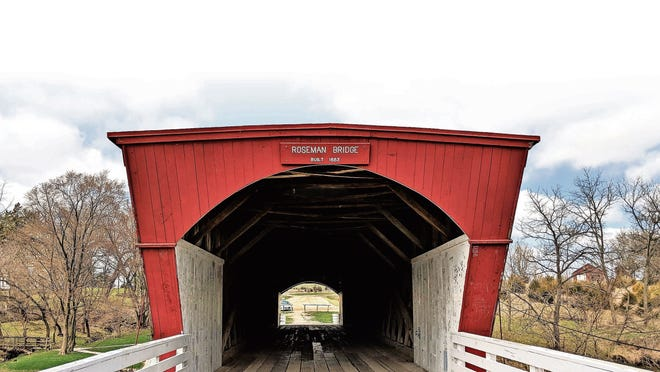 The Roseman Bridge built in 1883 is one of several bridges to check out near Winterset, Iowa.