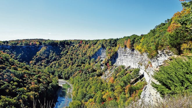 The canyon walls of Letchworth State Park reach heights of almost 600 feet.