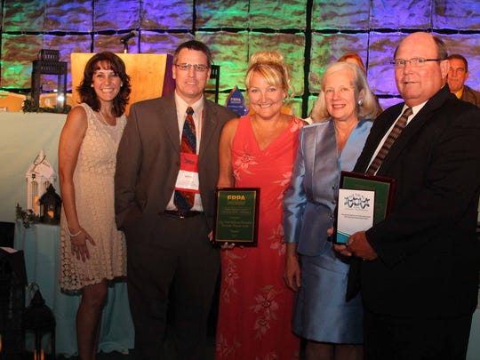 Cape Coral Parks and Recreation staff accepted a 2014 Public Relations Award from FRPA. Pictured from left to right are: Gina Peebles, Keith Locklin, Michelle Dean, Joan Byrne and Steve Pohlman.