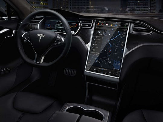 The interior of a Tesla Model S electric car.