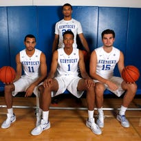 UK newcomers Skal Labissiere (1), Mychal Mulder (11), Issac Humphries (15) and Jamal Murray during Kentucky photo day at Memorial Coliseum.