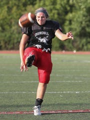 Livonia Churchill kicker Katherine Ristola is 5 feet 8 with a 4.1 grade-point average and a class schedule filled with AP classes.