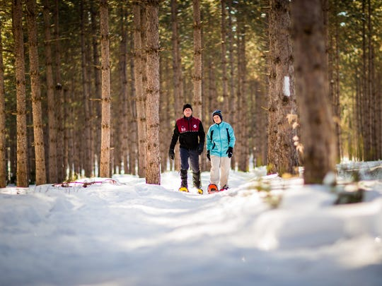 Nine Mile County Forest has more than 10 kilometers of trails for snowshoeing.