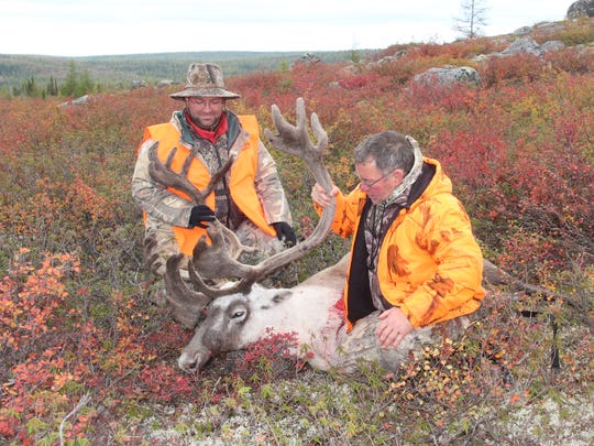 Scott Humrickhouse of Altoona, Wis., (right) and his son, Paul Humrickhouse of Idaho Falls, Idaho, admire the bull caribou shot by Scott while hunting in September in northern Quebec.