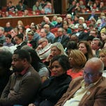 The crowd listens as Wilmington mayoral candidates take part in a debate Tuesday at the Grand Opera House in Wilmington.