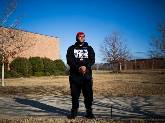 Pendleton High School alumni Michael Hill, defensive tackle for Ohio State, stands for a portrait on Thursday, December 22, 2016 in Pendleton.