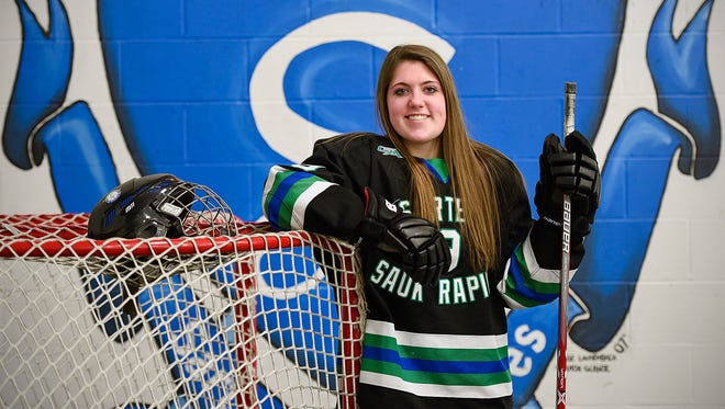 Sartell/Sauk Rapids senior defender Megan Cook is the Times Media Prep Athlete of the Week shown at practice Wednesday, Jan. 25, at Bernick's Arena in Sartell.