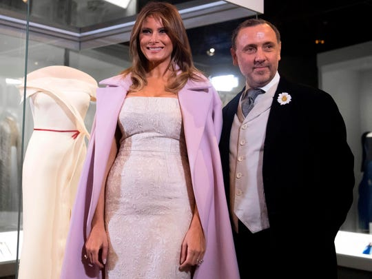 First lady Melania Trump with her inaugural gown designer,