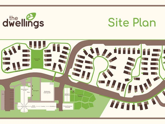 Site plan of The Dwellings illustrates the layout of the tiny house community.