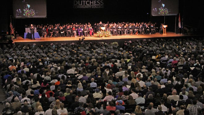 Dutchess Community College Board of Trustees President Thomas LeGrand speaks during the Dutchess Community College Commencement Ceremony at the Mid-Hudson Civic Center on May 21.