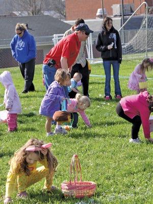 Fairview children hunt eggs at the Fairview Recreation Center.
