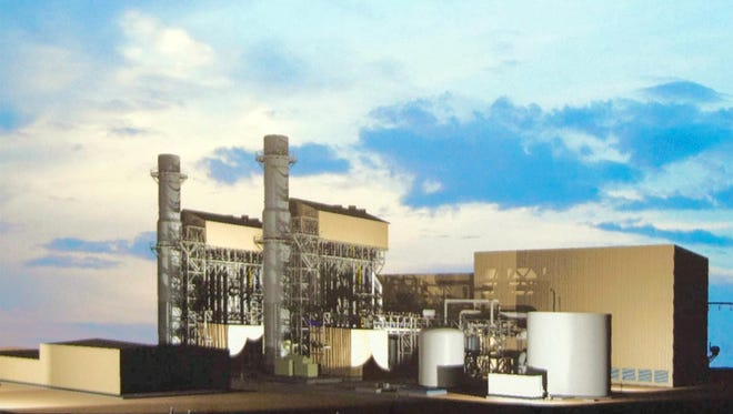 The height of  a proposed new natural gas plant at Lake Julian, shown in an artist rendering, will be shorter and less visible than the current coal stack, according to Duke Energy.