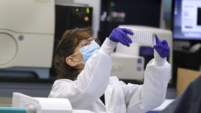 Collected swab samples are logged in, processed, and labeled as one part of the testing procedure at the R.I. Department of Health laboratory.