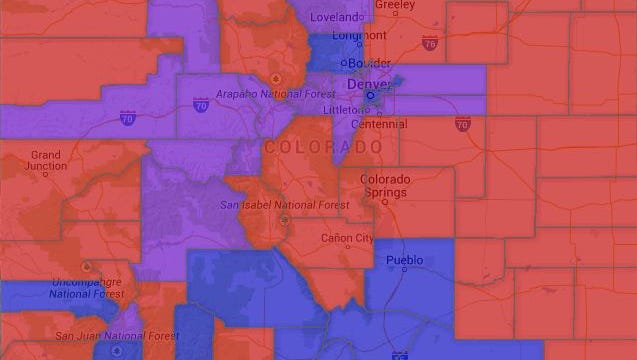 Majority Political Party Affiliation by County in Colorado. Key: Red/Republican, Blue/Democrat, Purple/Unaffiliated