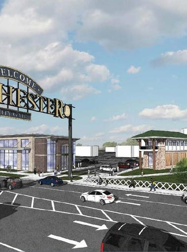 An artist rendering of the CityGate project looking northeast into the site from East Henrietta Road.