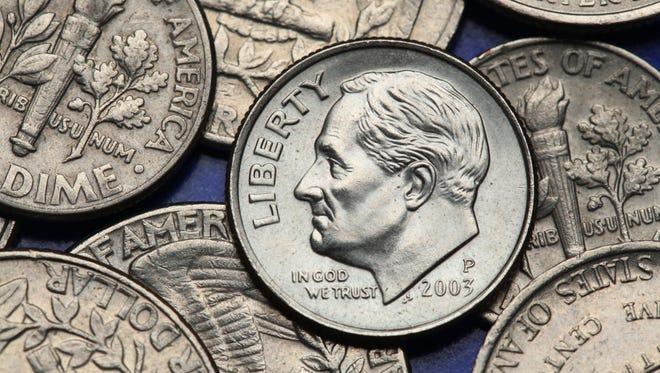 Franklin D. Roosevelt depicted on the US dime coin.