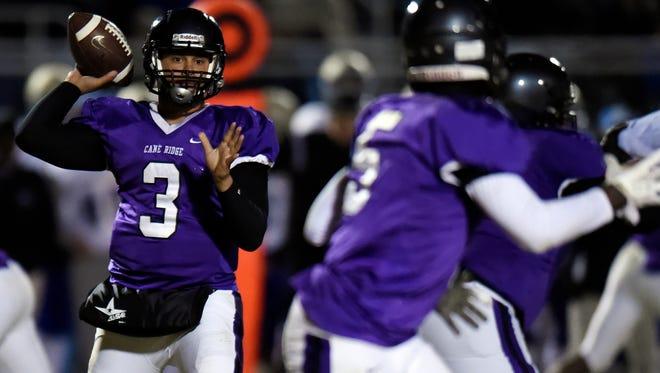 Cane Ridge quarterback Kory Andrews (3) throws a pass to running back Devon Starling (5) during the second half of an high school football game Friday, Nov. 10, 2017, in Antioch, Tenn. Cane Ridge won 28-13.