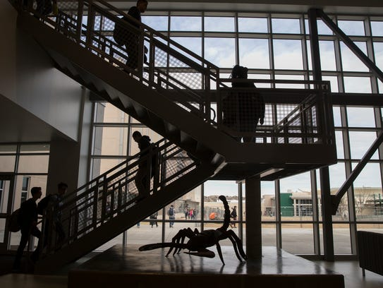 Students heading to class on Monday found their way through the new buildings at Farmington High School.