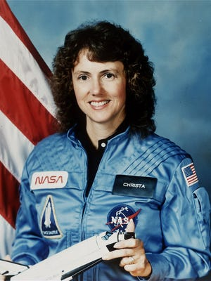 New Hampshire teacher Christa McAuliffe, who was aboard space shuttle Challenger Jan. 28, 1986, when the vehicle tore apart shortly after liftoff at the Kennedy Space Center.