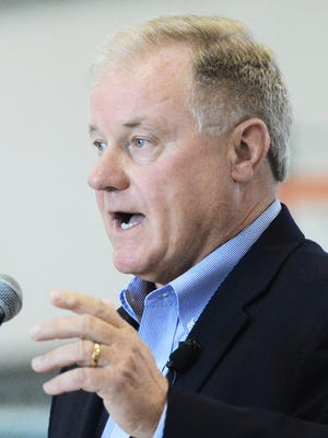 Scott Wagner speaks at a campaign tour kickoff at one of his Penn Waste facilities Monday, July 10, 2017. During the next four to six weeks, Wagner is planning stops across the state to bolster his gubernatorial run. Bill Kalina photo