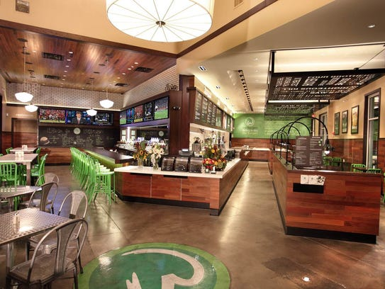 The interior of Wahlburgers' location in Hingham, Mass.