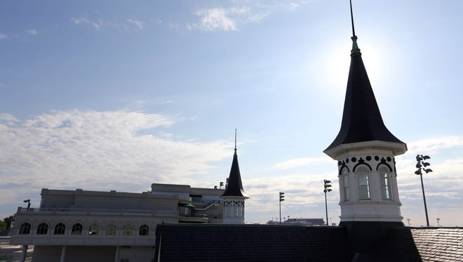 A view of the twin spires before the 2014 Kentucky Derby at Churchill Downs.