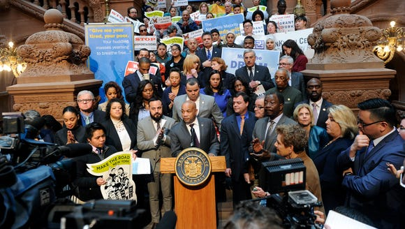 Assembly Speaker Carl Heastie, D-Bronx, speaks about
