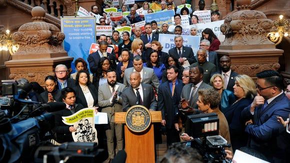 Assembly Speaker Carl Heastie, D-Bronx, speaks about