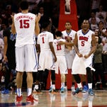 SMU's Markus Kennedy (5) reacts in front of teammate