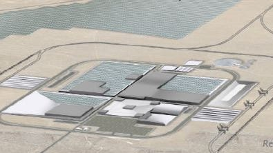 An artist's rendering of what Tesla's Gigafactory for making electric car batteries would look like.