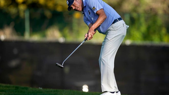 Matt Kuchar putts on the 13th green during the second round of the Genesis Invitational golf tournament at Riviera Country Club, Friday, Feb. 14, 2020, in the Pacific Palisades area of Los Angeles.