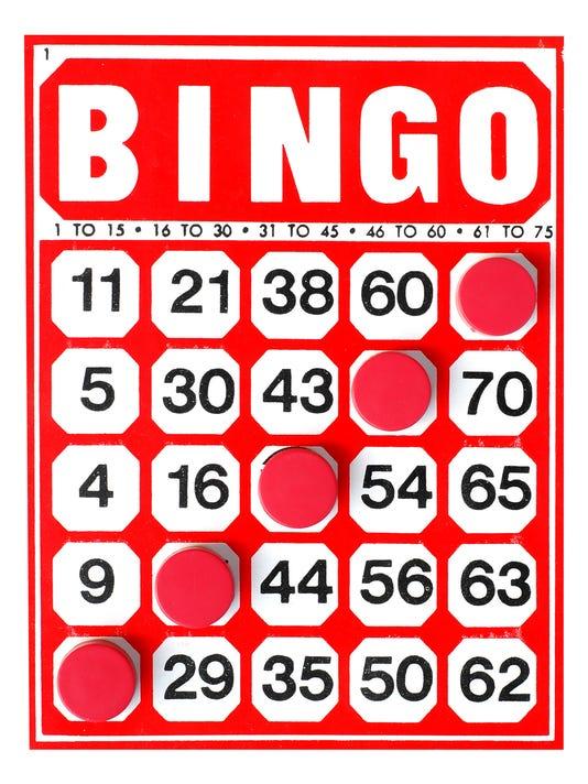 Bingo card with 5 markers making a diagonal Bingo