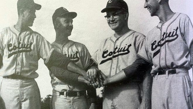 Standout players for the first Cotuit Kettleers championship team of 1961 are (from left) first baseman Jeff Heizel, pitcher Bobby Butkus, Cape League Hall of Famer and pitcher Bernie Kilroy and manager Jim Hubbard.