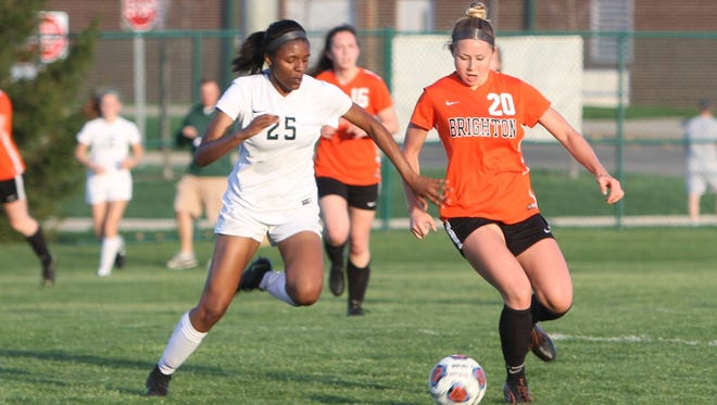 Kayla Foran (20) scored one of Brighton's two goals in a 2-2 tie with Livonia Stevenson.