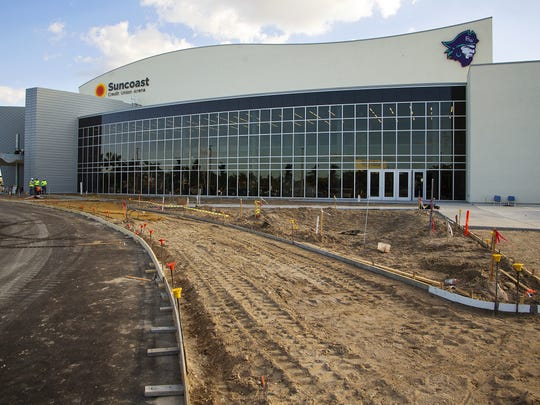 The 75,000-square-foot Suncoast Credit Union Arena  will be home to mostly basketball until about March 2017. Construction continues recently on the Suncoast Credit Union Arena at Florida SouthWestern State College in Fort Myers. The arena is scheduled to open Nov. 29, 2016.