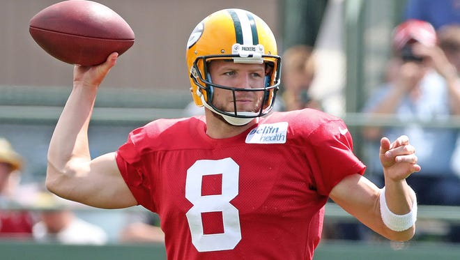 Green Bay Packers quarterback Taysom Hill (8) during training camp at Ray Nitschke Field Wednesday, August 16, 2017 in Ashwaubenon, Wis.