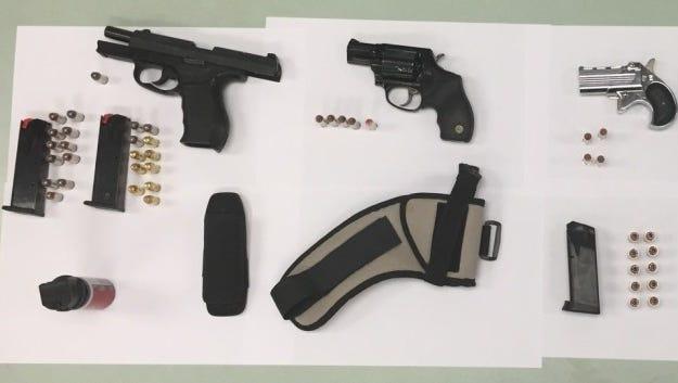 Weapons seized from Daniel Figueroa of Rochester.