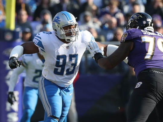 Lions defensive lineman Dwight Freeney rushes against Ravens offensive lineman Ronnie Stanley during the first quarter of the Lions' 44-20 loss on Sunday, Dec. 3, 2017, in Baltimore.