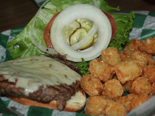 The Famous Crunchy Burger is the star of the show at