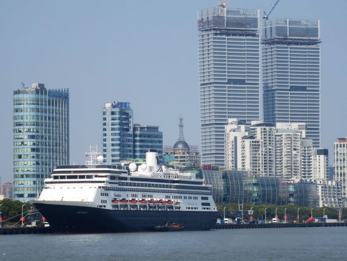 The Holland America Volendam docked in Shanghai, China.