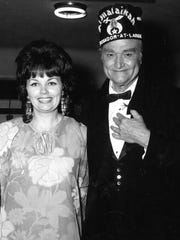 Sallyanne Bachman appears with comic Red Skelton at the Shrine Auditorium in Los Angeles in the middle 1970s.