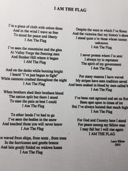 """A poem called """"I Am The Flag"""" (pictured here) by Larry Elkins is featured in cards that are distributed by patriotic Gerri B. Deptula, who lives near Woodworth. The cards have an American flag on the front and the poem on the back."""