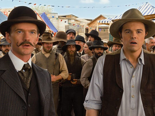 """Foy (Neil Patrick Harris) and his rival, Albert (Seth MacFarlane), in """"A Million Ways to Die in the West""""."""