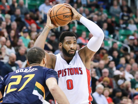 Pistons center Andre Drummond looks to pass against