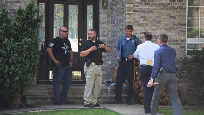 Law Enforcement officers conduct an investigation at the home of Janoris Jenkins where a body was discovered there this morning. Photographed at the corner of Van Saun Place and Newton Place in Fair Lawn on 06/26/18.